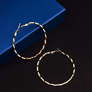 Ferosh curved golden hoop earrings for women - hoop earrings online