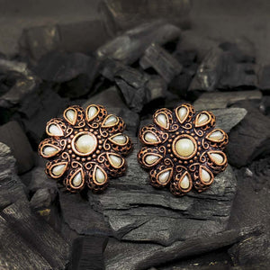 Ferosh Kiandria Brown Pearl Stone Stud Earrings