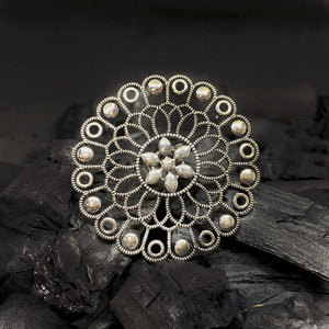 Keara Oxidized Silver Floral Statement Ring - Ferosh