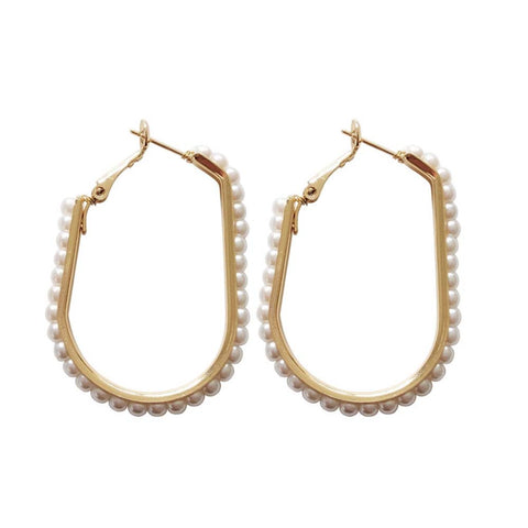 Ferosh Karon Pearl Golden Hoop Earrings