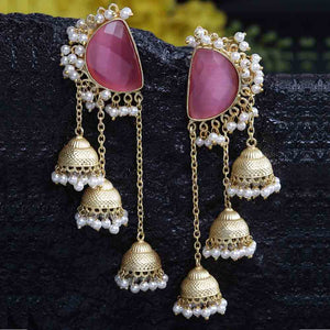 Kavika Coral Pink Golden Triple Jhumki Earrings - Ferosh