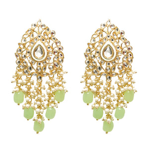 Ikshita Golden Stonework Pastel Green Pearl Statement Earrings - Ferosh