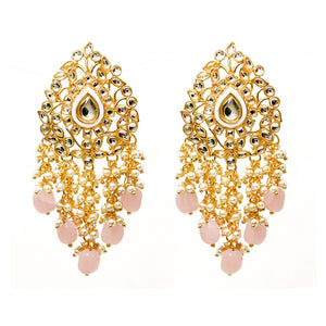 Ikshita Golden Stonework Pastel Pink Pearl Statement Earrings - Ferosh