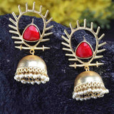 Kirtika Sizzling Red Sunshine Golden Jhumkas - Ferosh