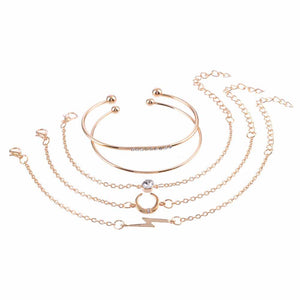 Ferosh Lightening Crescent Golden 5 Bracelet Set