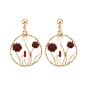 Lavna Floral Red Golden Drop Earrings - Ferosh