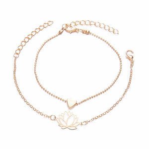 Ferosh Lotus Love Golden Dual Bracelet Set