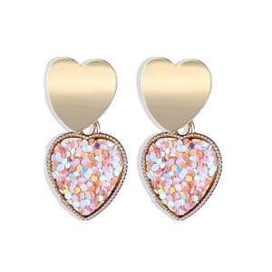 Lyla Pink Sparkling Heart Golden Drop Earrings - Ferosh