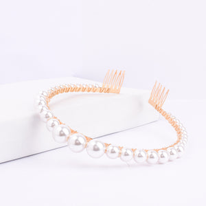 Luna Pearl Stone Golden Hair Band - Ferosh
