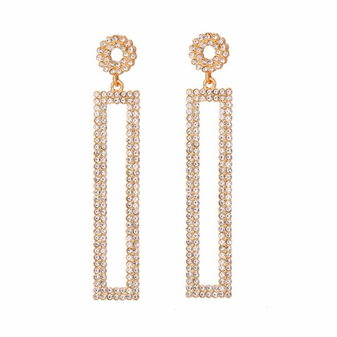 Ferosh Laurel Rechtangular Rhinestone Drop Earrings