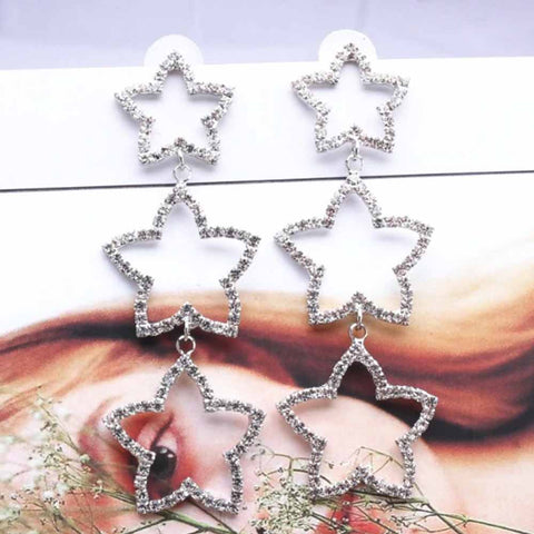 Lucila Tri-Layered Sparkling Star Silver Rhinestone Earrings - Ferosh