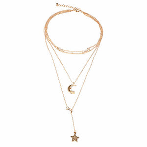 Ferosh Leslie Twinkling Moon Star Linked Chain Layered Neckpiece