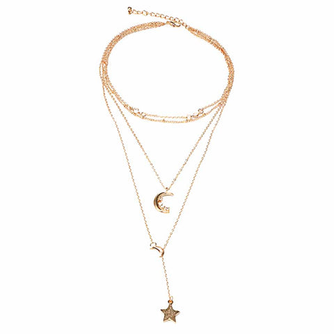 Leslie Twinkling Moon Star Linked Chain Layered Neckpiece - Ferosh
