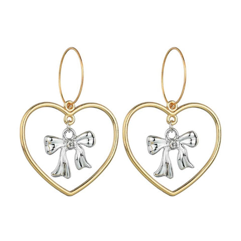 Martia Big Golden Heart Silver Bow Drop Earrings - Ferosh