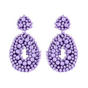Marcina Beaded Lilac Drop Earrings - Ferosh