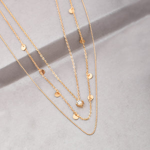 Ferosh Sqaure Crystal Stone Three Layered Necklace Chain For Women - Jewellery Online