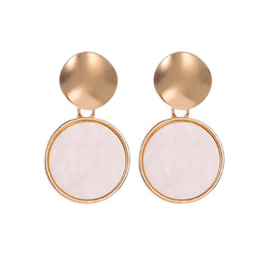 Maisica Circular Pink-White Stone Golden Drop Earrings