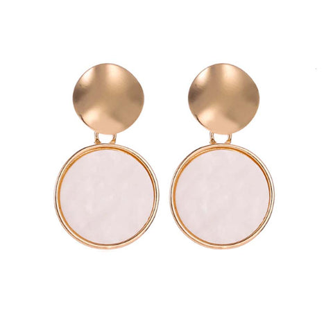 Maisica Circular Pink-White Stone Golden Drop Earrings - Ferosh