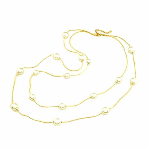Ferosh Layered Pearls Golden Necklace For Women - Necklace Online