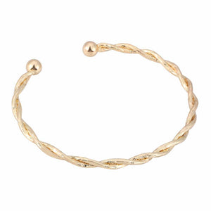 Megan Gold Braided Cuff Bracelet - Ferosh