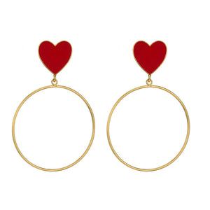 Milada Heart Open Circle Golden Earrings - Ferosh