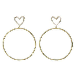 Moira Rhinestone Heart Open Circular Earrings - Ferosh