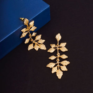 Ferosh Fashion Gold Plated Leaf Design Drop Earrings For Women - Earrings Online