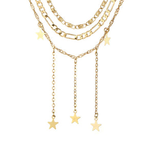 Malia Layered Golden Star Trinkets Neckpiece - Ferosh
