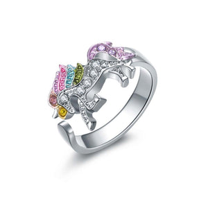 Miesha Multi-Coloured Rhinestone Unicorn Ring - Ferosh