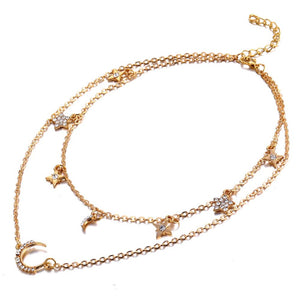 Marcella Star and Moon Golden Trinket Layered Necklace - Ferosh