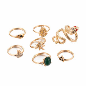 Nova Antique Gold Statement Ring Set - Ferosh