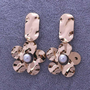 Ferosh Narcissa Bronze Metallic Floral Earrings