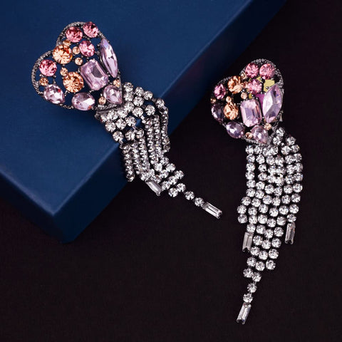 Ferosh multicolour crystal stone heart drop for women - earings online