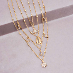Ferosh Sea Shell Layered Gold Plated Necklace Chain For Women - Fashion Jewellery Online