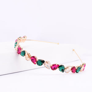 Ferosh Pink-Green Stone Golden Metal Alloy Headband  - Hair Accessories Online