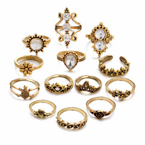 Neva Golden Oxidized Crystal Ring Set - Ferosh