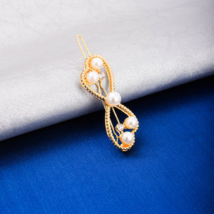 Norah Golden Pearl Bow Hair Pin - Ferosh