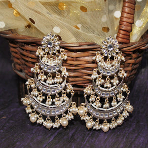 Naura Golden Pearl Layered Chandbali Earrings - Ferosh