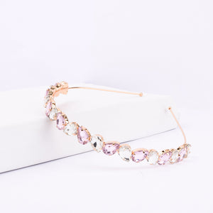 Ferosh Pink-White Stone Golden Metal Alloy Headband  - Hair Accessories Online