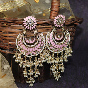 Ferosh Naisha Blush Pink Layered Pearl Chandbali Earrings