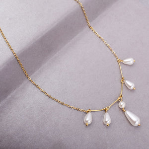 Natalia Pearl Trinkets Golden Necklace - Ferosh