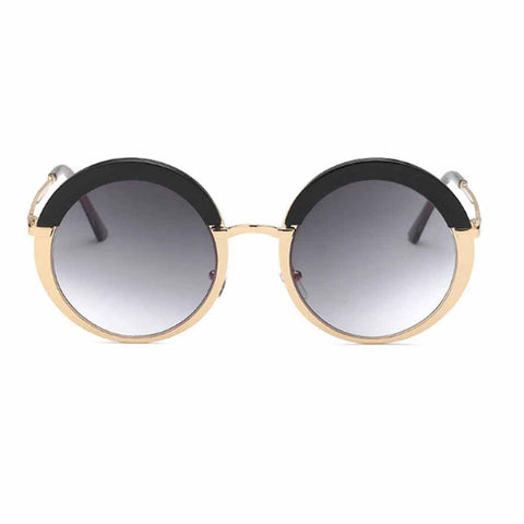Nicola Round Black Gold Tinted Sunglasses - Ferosh