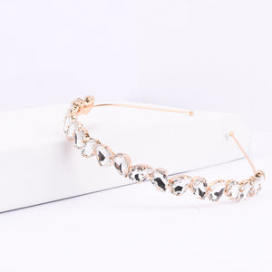 Nefertiti White Crystal Golden Hair Band - Ferosh