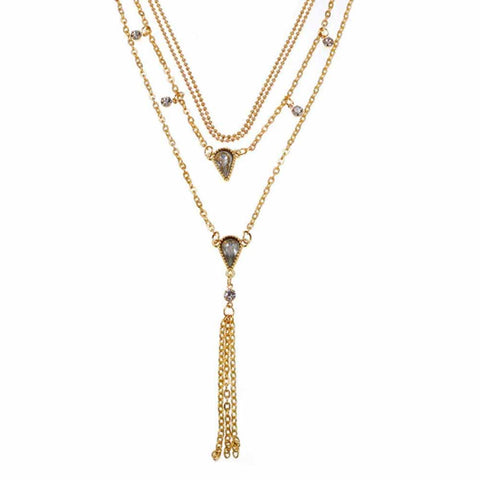 Nyssa Crystal Golden Layered Choker Neckpiece - Ferosh