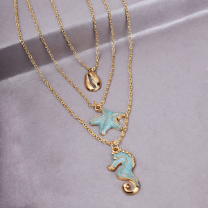 Ferosh Sea Creature Gold Plated Layered Chain Necklaces for Women - Fashion Jewellery Online