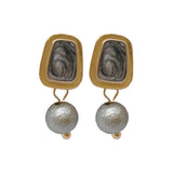 Ozias Charismatic Grey Pearl Golden Earrings - Ferosh