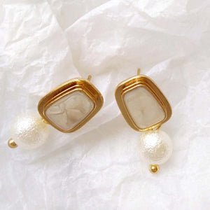 Ferosh Drop Pearl Gold Earrings For Women - Dangler Earrings Online