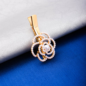 Omorose Floral Pearl Golden Hair Pin - Ferosh