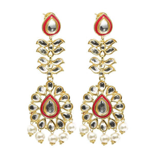 Ojasvi Golden Rani Stonework Drop Ethnic Earrings - Ferosh