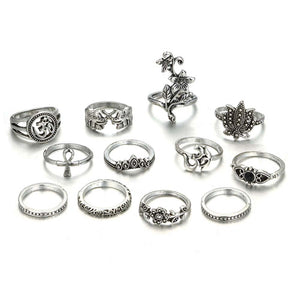 Om Floral Silver 12 Pcs Ring Set - Ferosh